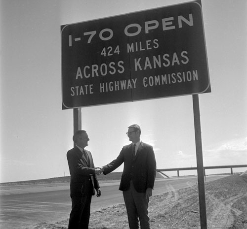 '1970 open 424 miles across Kansas' sign at Exit 19