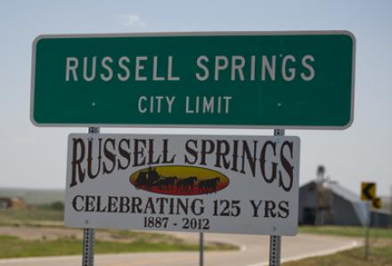 Russell Springs City Limit sign